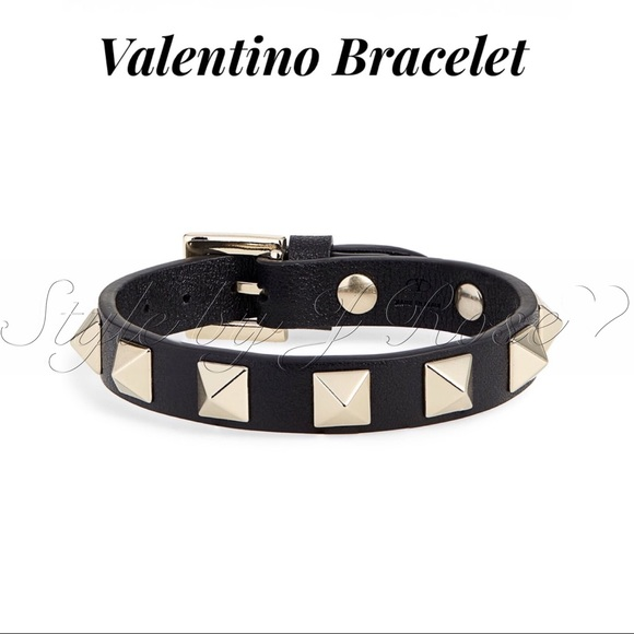Valentino Jewelry - NWT's & BOX Valentino Black Leather Bracelet